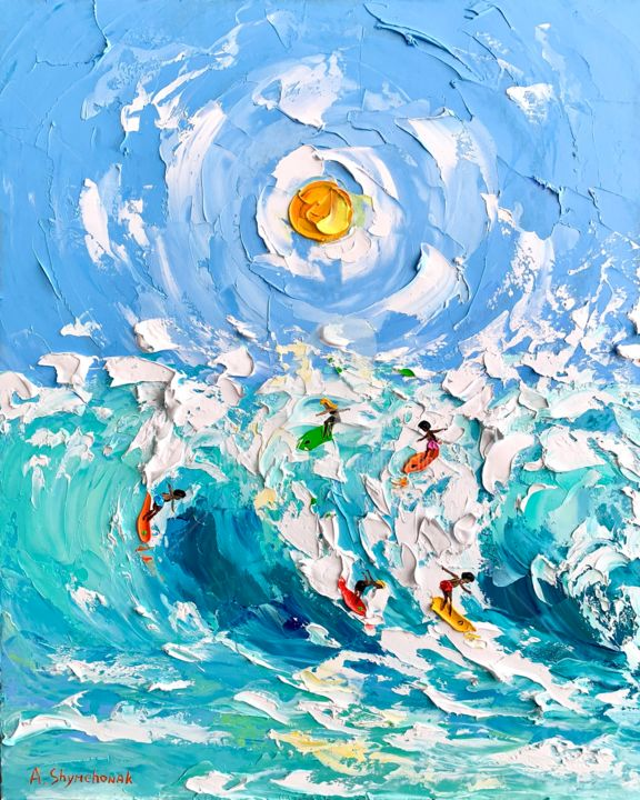 Sunny day for surfing; oil painting; framed - Painting,  19.7x15.8x0.8 in, ©2020 by Alena Shymchonak -                                                                                                                                                                                                                                                                                                                                                                                                                                                      Impressionism, impressionism-603, Landscape, People, Seascape, surfing oil painting, surfer art, ocean oil painting, ocean waves painting