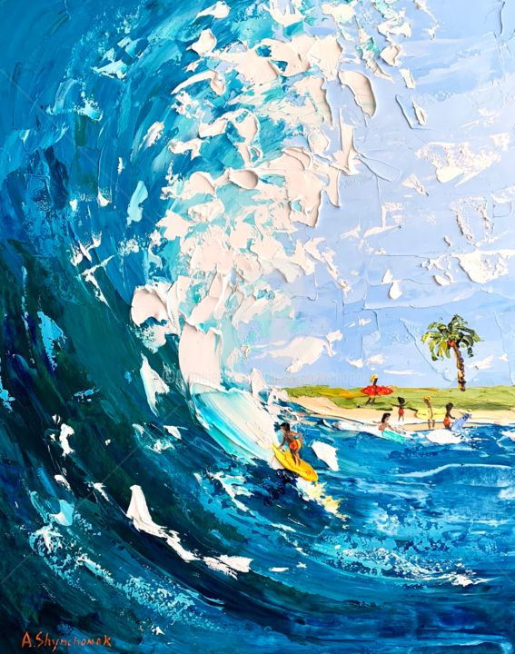 Ready to surfing; Palette knife oil painting; framed - Painting,  19.7x15.8x0.8 in, ©2020 by Alena Shymchonak -                                                                                                                                                                                                                                                                                                                                                                                                                                                      Impressionism, impressionism-603, Beach, Landscape, People, Seascape, surf oil painting, ocean painting, surfer oil painting