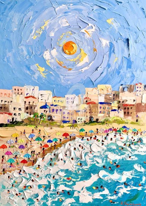 My beach; Original palette knife oil painting; framed - Painting,  27.6x19.7x0.8 in, ©2020 by Alena Shymchonak -                                                                                                                                                                                                                                                                                                                                                                                                                                                                                                  Impressionism, impressionism-603, Beach, Landscape, People, Seascape, beach painting, beach scene art, beach original art, seascape painting