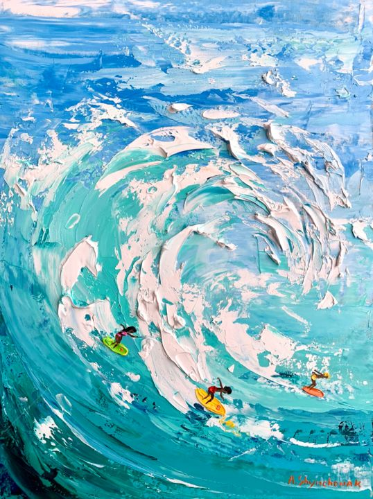 Do you like surfing? Original oil painting; framed - Painting,  15.8x11.8x0.8 in, ©2020 by Alena Shymchonak -                                                                                                                                                                                                                                                                                                                                                                                                                                                      Impressionism, impressionism-603, Beach, Landscape, People, Seascape, surfer oil painting, surfing oil art, seascape oil painting