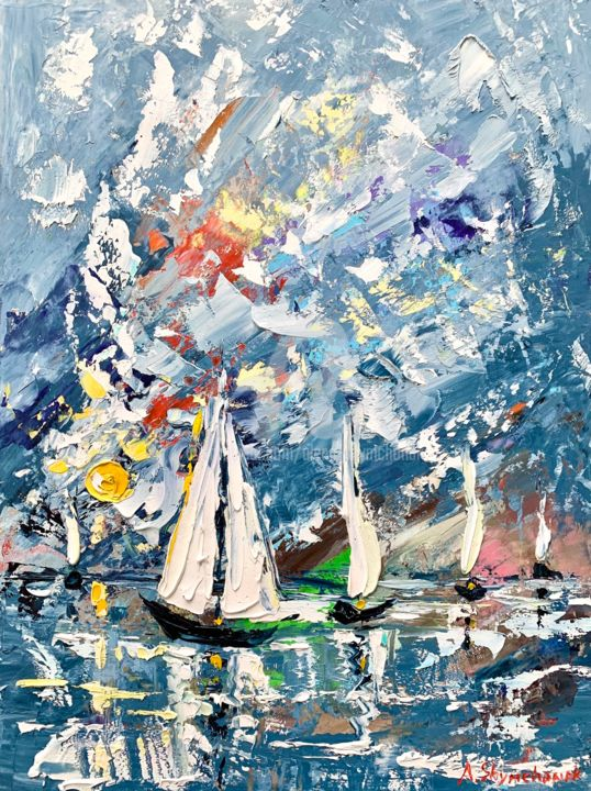 Amazing sunshine; original oil painting; framed - Painting,  15.8x11.8x0.8 in, ©2020 by Alena Shymchonak -                                                                                                                                                                                                                                                                                                                                                                                                          Impressionism, impressionism-603, Landscape, Sailboat, Seascape, sailibg oil painting, seascape oil painting, sea painting