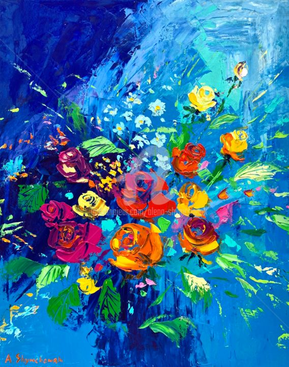 Roses dessert; palette knife oil painting; roses painting - Painting,  19.7x15.8x0.1 in, ©2020 by Alena Shymchonak -                                                                                                                                                                                                                                                                                                                                                                                                          Impressionism, impressionism-603, Abstract Art, Flower, Still life, roses painting, roses bouquet, roses flowers art