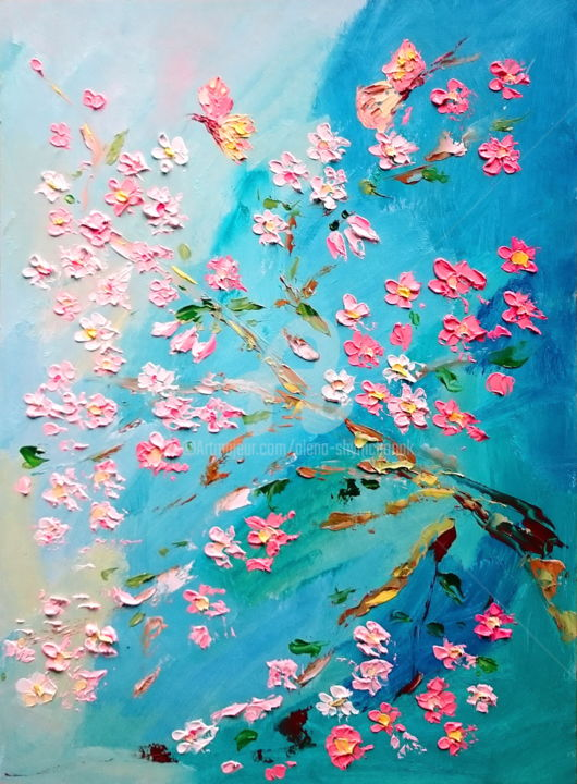 Sakura branch and butterflies - Painting,  40x30x0.2 cm ©2016 by Alena Shymchonak -                                                            Impressionism, Other, Flower, sakura painting, flowers painting, sakura oil painting