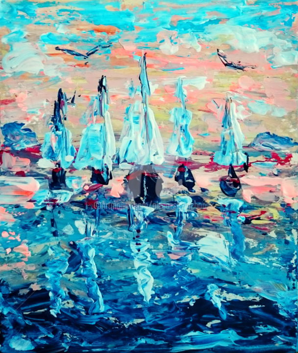 Let's go home - Painting,  30x25x0.1 cm ©2016 by Alena Shymchonak -                                            Impressionism, Ships, ships painting, sea and ships painting