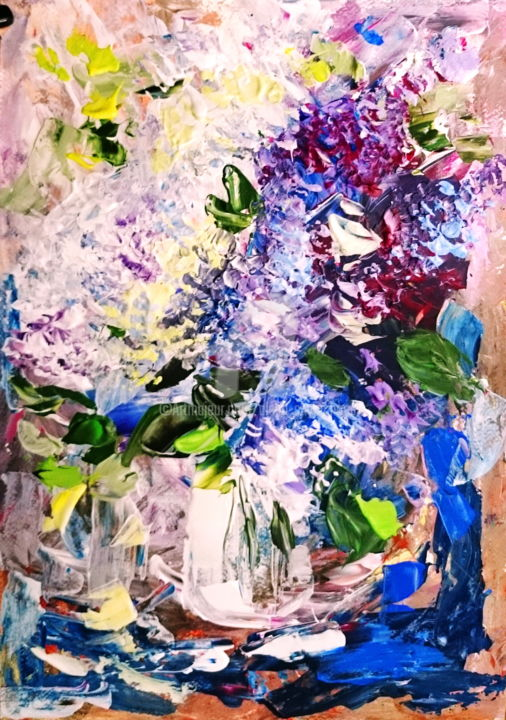 Bouquet of lilacs - Painting,  41.5x29.5x0.1 cm ©2016 by Alena Shymchonak -                                                            Impressionism, Paper, Flower, lilac painting, flowers painting