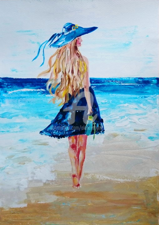 Summer please come back! - Painting,  41.5x29.5x0.1 cm ©2016 by Alena Shymchonak -                                                            Impressionism, Paper, Women, woman and sea painting