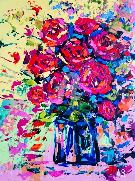 Bouquet of roses - Painting,  40x30x0.2 cm ©2016 by Alena Shymchonak -                                                            Abstract Art, Other, Flower, roses painting, bouquet of roses painting, flower painting