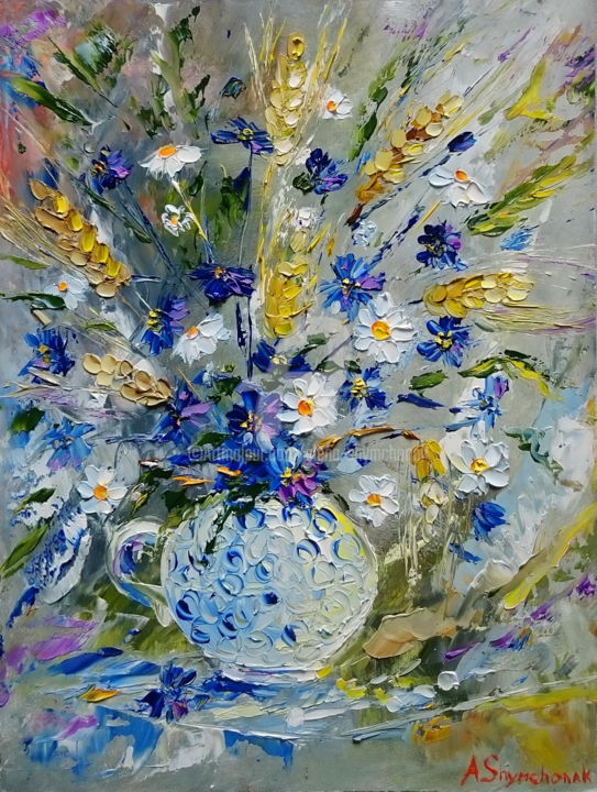 Bouquet of wild flowers - Painting,  40x30x1.1 cm ©2016 by Alena Shymchonak -                                                            Impressionism, Other, Flower, wild flowers painting, flower oil painting, bouquet of flowerrs