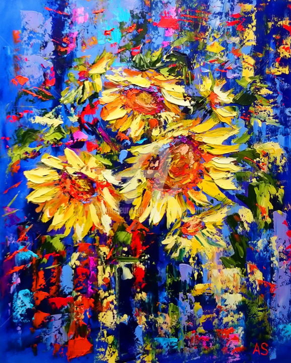 Golden sunflowers - Painting,  19.7x15.8x0.4 in, ©2016 by Alena Shymchonak -                                                                                                                                                                                                                                                                                                                                                                  Impressionism, impressionism-603, Other, Flower, sunflowers oil painting, sunflowers painting, bouquet of sunflowers