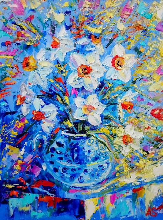Bouquet of narcissuses - Painting,  40x30x0.2 cm ©2016 by Alena Shymchonak -                                                            Impressionism, Other, Flower, narcissuses flowers, flowers oil painring, floral oil painting