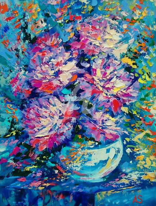 Bouquet of peonies in a vase - Painting,  40x30x1.1 cm ©2016 by Alena Shymchonak -                                                            Impressionism, Other, Flower, peonies flower, flower oil paintings