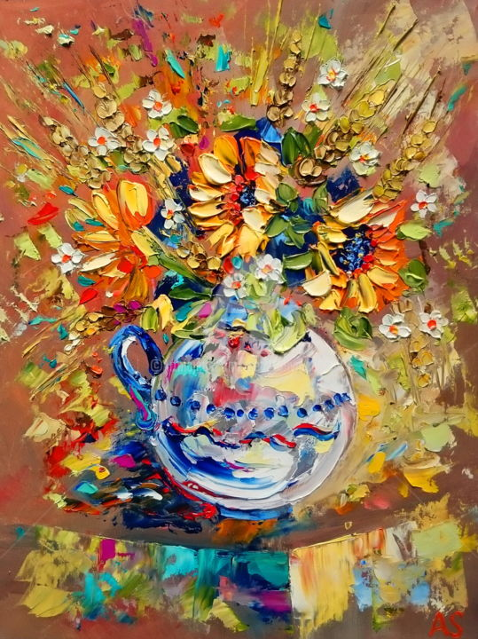 Bouquet with a small sunflowers - Painting,  40x30x1.1 cm ©2016 by Alena Shymchonak -                                                            Impressionism, Other, Flower, sunflowers oil paintings, sunflowers in a vase, bouquet of sunflowers