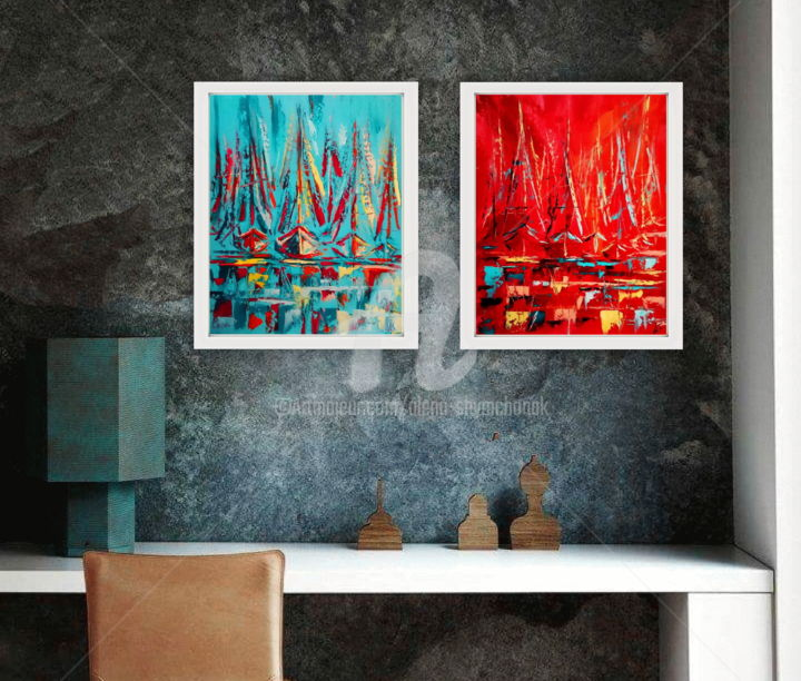 ABSTRACT SHIPS Vol.I; SET OF TWO - Painting,  15.8x0.1 in, ©2016 by Alena Shymchonak -                                                                                                                                                                                                                                                                                                                                                                                                                                                                                                                                                  Abstract, abstract-570, Other, Abstract Art, Seascape, Yacht, seascape oil paintings, sea and ships paintings, abstarct ships, abstract artwork, abstract paintings set of two