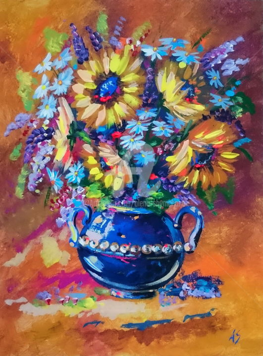 BOUQUET WITH GOLD SUNFLOWERS - Painting,  40x30x0.2 cm ©2016 by Alena Shymchonak -                                                                        Impressionism, Other, Botanic, Flower, sunflowers paintings, sunflowers in a vase paintings