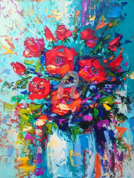 Red roses - ©  red roses paintings, bouquet of roses paintings, roses in a vase paintings, still life paintings Online Artworks