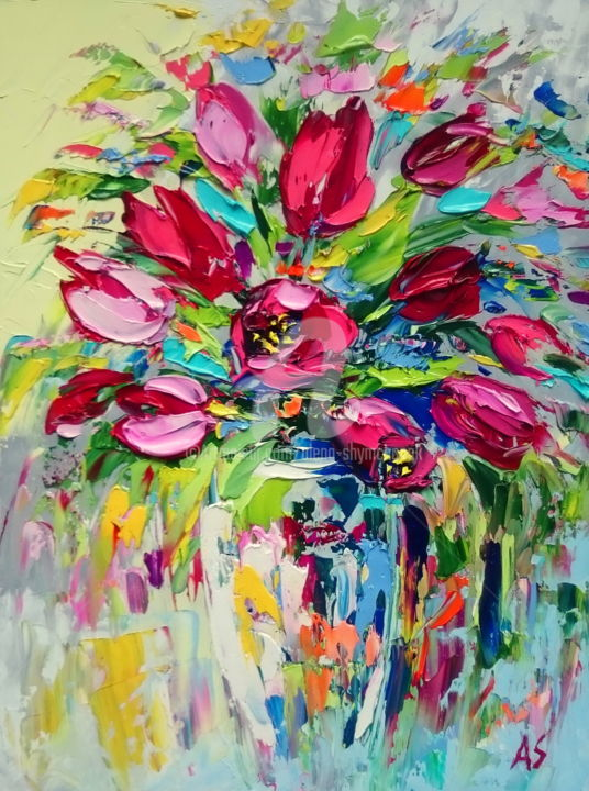 FAVOURITE TULIPS IN A VASE - Painting,  15.8x11.8x0.1 in, ©2017 by Alena Shymchonak -                                                                                                                                                                                                                                                                                                                                                                                                                                                          Expressionism, expressionism-591, Other, Botanic, Flower, Still life, tulips in a vase paintings, flowers oil paintings, tulips oil paintings