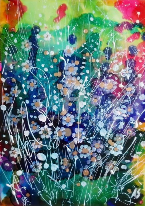 Small flowers; Gift idea - Painting,  29.5x21x0.2 cm ©2017 by Alena Shymchonak -                                                                                                Abstract Art, Abstract Expressionism, Expressionism, Plastic, Abstract Art, Flower, small flowers paintings, abstrcat floral artwork