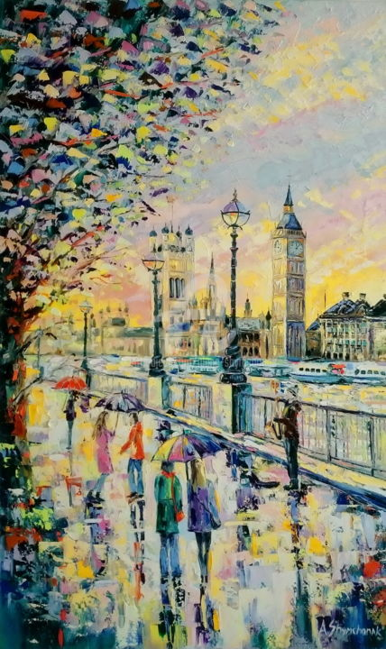 WARM AND RAINY DAY IN LONDON - Painting,  100x60x2.2 cm ©2017 by Alena Shymchonak -                                                                                                                                Expressionism, Impressionism, Modernism, Realism, Canvas, Cityscape, Landscape, Nature, Seasons