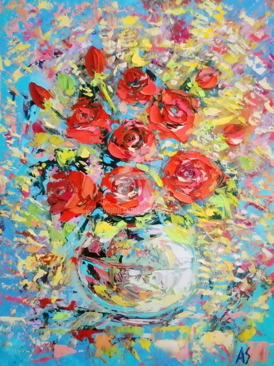 FIERY ROSES - Painting,  40x30x0.2 cm ©2017 by Alena Shymchonak -                                                                                                            Abstract Expressionism, Expressionism, Impressionism, Other, Botanic, Flower, Still life, roses oil paintings, bouquet of roses, flowers oil paintings