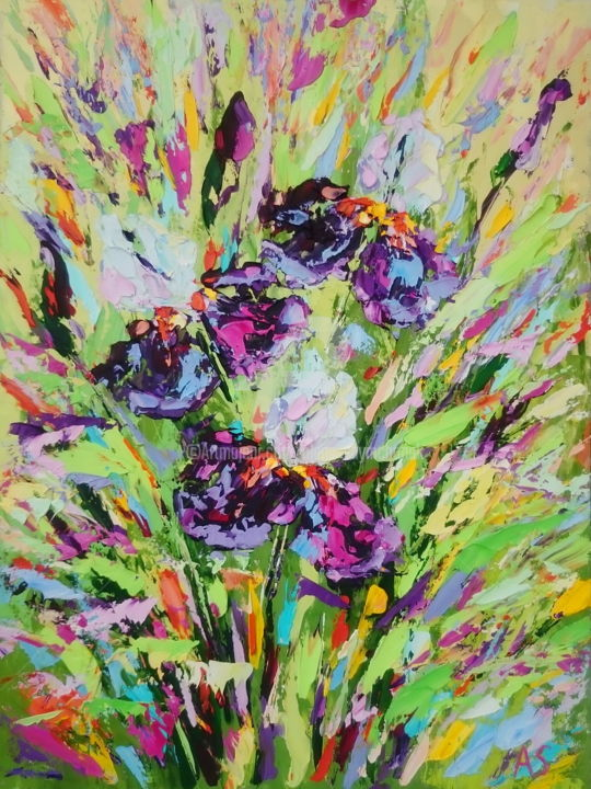 IRISES FLOWERS - Painting,  15.8x11.8x0.1 in, ©2017 by Alena Shymchonak -                                                                                                                                                                                                                                                                                                                                                                                                                                                          Abstract, abstract-570, Other, Botanic, Flower, Still life, irises flowers, flowers oil paintings, floral artwork