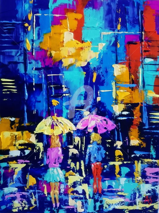 Night city lights - Painting,  15.8x11.8x0.1 in, ©2017 by Alena Shymchonak -                                                                                                                                                                                                                                                                                                                                                                                                                                                          Abstract, abstract-570, Other, Cities, Cityscape, Light, people with umbrella paintings, cityscape oil paintings, city light paintings