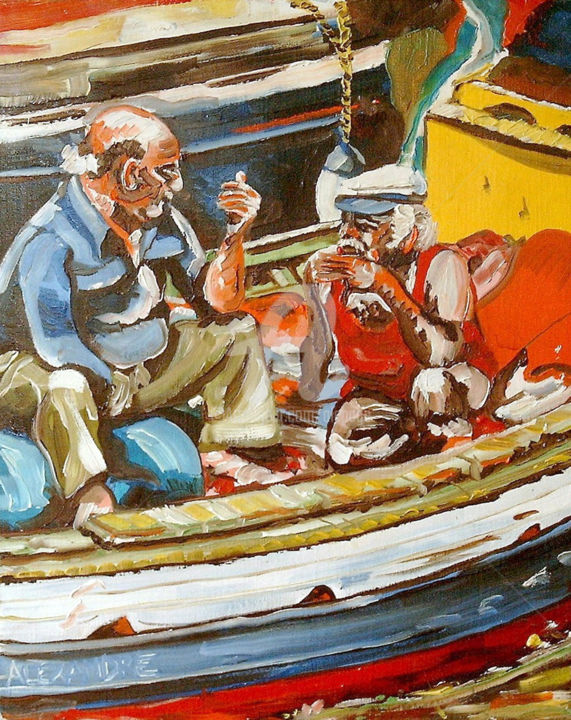 Les pêcheurs - Painting,  16.1x13 in, ©1999 by Alexandre Lepage -