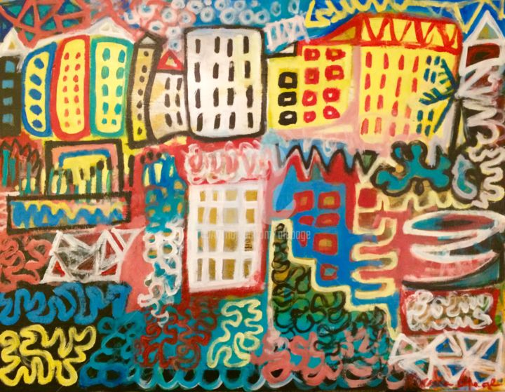 Graffiti reflections - Painting,  27.6x35.4 in, ©2018 by Alexandre Lepage -                                                                                                                                                                                                                                                                                                                                                                                                                                                                                                                                                                                                                                                                                                                                                                                                                                                                  Outsider Art, outsider-art-1044, Abstract Art, Colors, Graffiti, Cities, street art, graffiti, colors, couleurs, port, puerto, reflet, reflection, méditerranée, mediterranean, mer, sea