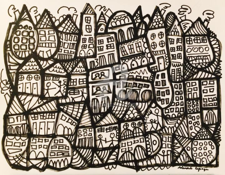 City - Painting,  50x65 cm ©2018 by Alexandre Lepage -            ville, city, urbain, maison