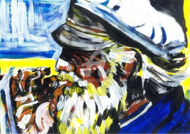 Le marin - Painting,  9.5x12.6 in, ©1999 by Alexandre Lepage -                                                                                                                                                                                                                                                                                                                                                                                                                                                                                                                                                                                                                                                                                                                                                                                                                                                                                                                                                                                                                                                                          Men, Seascape, People, Provence, Mer, Sea, Méditerranée, Mediterranean, Pêcheur, Fisherman, Couleurs, Colors, Fumer, Fumeur, Smoke, Smoking, Barbe, Beard, Casquette, Hat, La Ciotat, Marseille, Cassis
