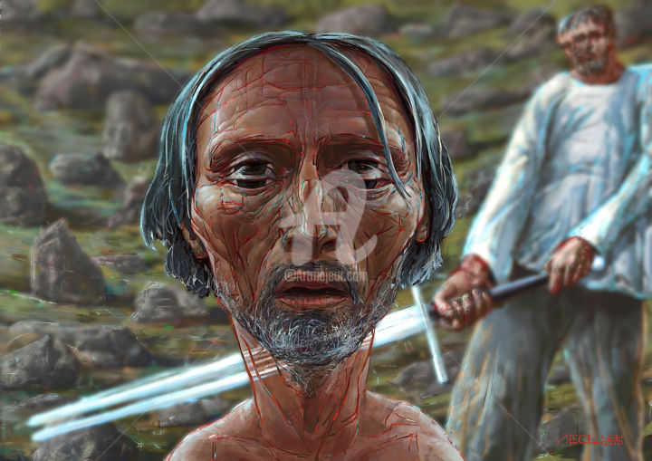 Execution - Digital Arts,  19.7x27.6x0.9 in, ©2014 by Ales Dolbnya -                                                                                                                                                                                                                                                                                                                                                                                                                                                                                                                                                                      Celebrity, History, People, Body, artwork_cat.Colors, Genghis Khan, Warrior, Soldier, Execution, Dispatch, Death, dead