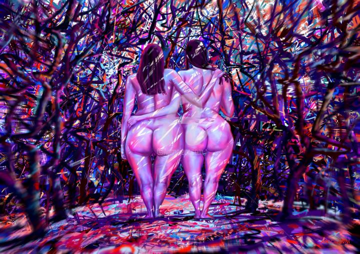 In The Forest - Digital Arts,  19.7x27.6x0.9 in, ©2016 by Ales Dolbnya -                                                                                                                                                                                                                                                                                                                                                                                                                                                                                                                                                                                                                                                                                                                                                      Botanic, artwork_cat.Colors, Erotic, Flower, Garden, Color, Erotic, Flowers, Garden, Forest, Women, Nude, Naked, Love, Friends, Girls
