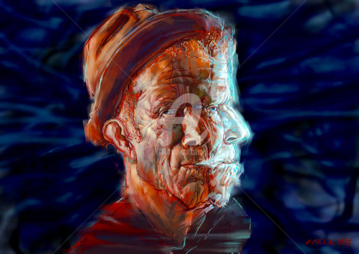 Tom Waits - Digital Arts,  19.7x27.6x0.9 in, ©2016 by Ales Dolbnya -                                                                                                                                                                                                                                                                                                                                                                                                                                  Body, Celebrity, Cinema, artwork_cat.Colors, History, Tom, Waits, Cinema, Celebrity
