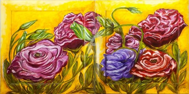 Amore e passione - Painting,  62x62 cm ©2006 by Alessandra Tabarrani -