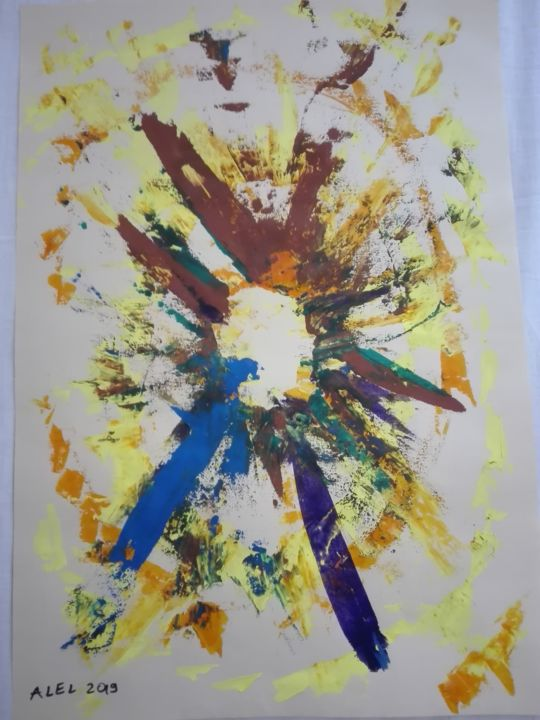 Big bang - Painting,  13x18.9 in ©2019 by ALEL -