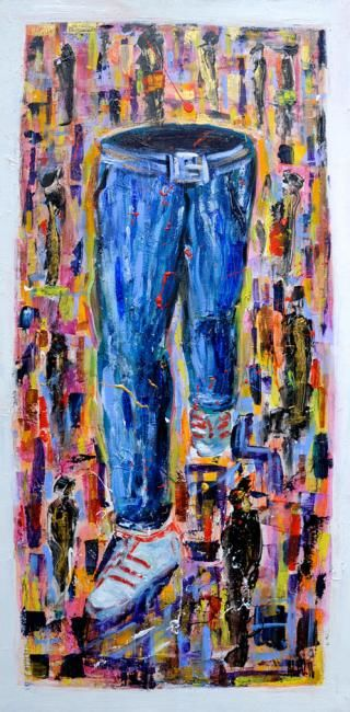 """On the road"" - Painting,  47.2x23.6 in, ©2012 by Alessandro Coralli -                                                                                                                                                                                                                      Expressionism, expressionism-591, jeans, usa"