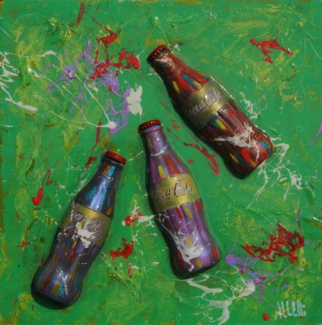 Coca Cola party - Painting,  40x40 cm ©2013 by Alessandro Coralli -            coca cola peintings and sculpturs