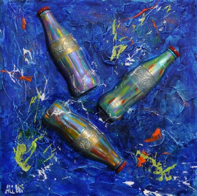 Coca Cola explosion - Painting,  40x40 cm ©2013 by Alessandro Coralli -            coca cola peintings and sculpturs