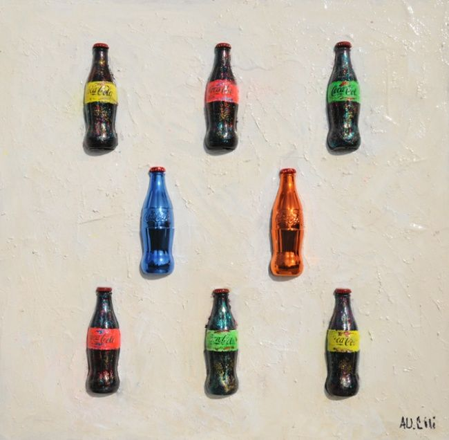 Coca Cola in the whyte - Painting,  35.4x35.4 in, ©2013 by Alessandro Coralli -                                                              coca cola peintings and sculpturs