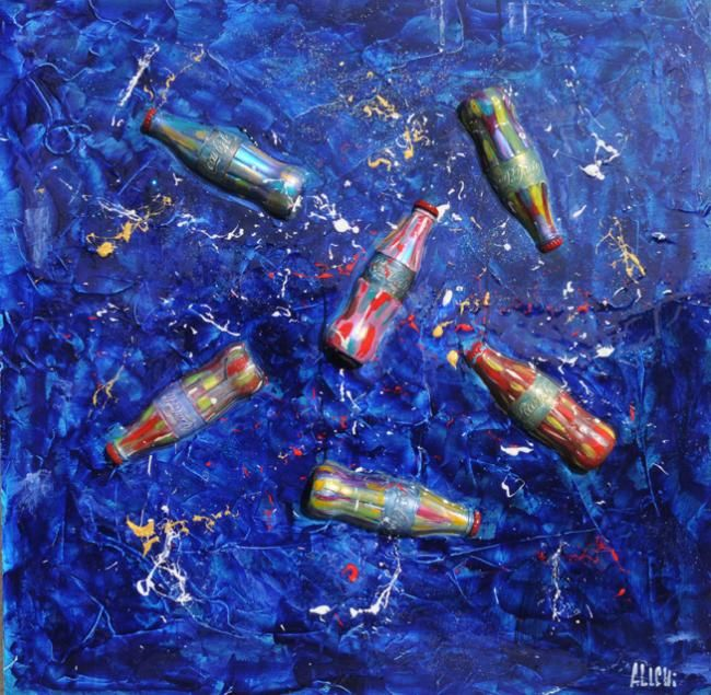 Coca Cola deep blue - Painting,  80x80 cm ©2013 by Alessandro Coralli -            coca cola peintings and sculpturs