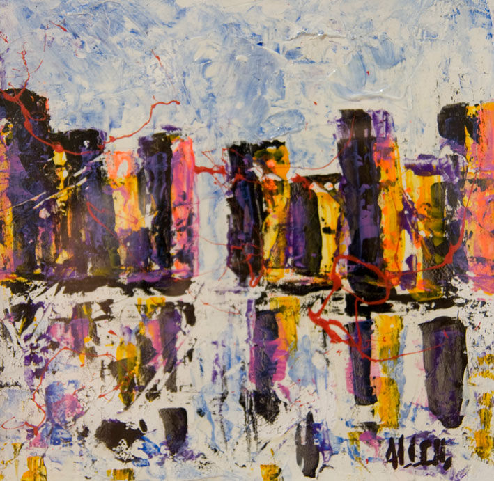 N.Y - Painting,  20x20 cm ©2013 by Alessandro Coralli -                            Contemporary painting, New York