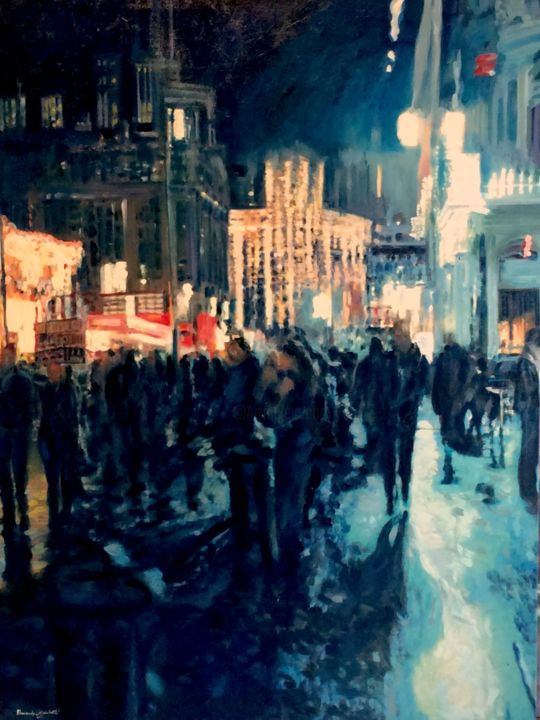 """Painting titled """"London Blue"""" by Alessandro Giusberti, Original Art, Oil"""