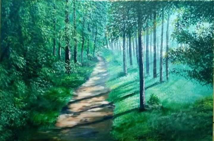 """Painting titled """"Floresta"""" by Alex Carvalho, Original Art, Acrylic Mounted on Wood Panel"""