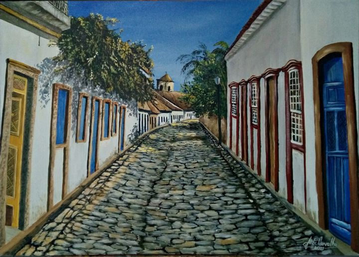 """Painting titled """"Paraty"""" by Alex Carvalho, Original Art, Acrylic Mounted on Wood Panel"""