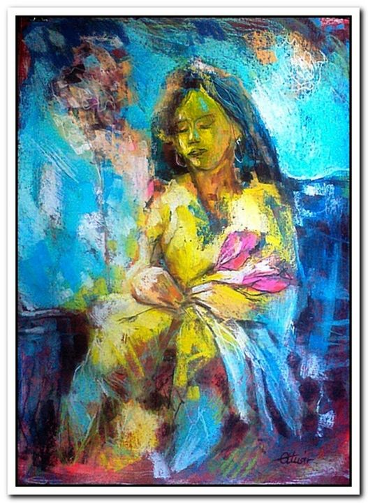"""Painting titled """"Woman with flower"""" by Alex Ottmár, Original Art, Pastel"""