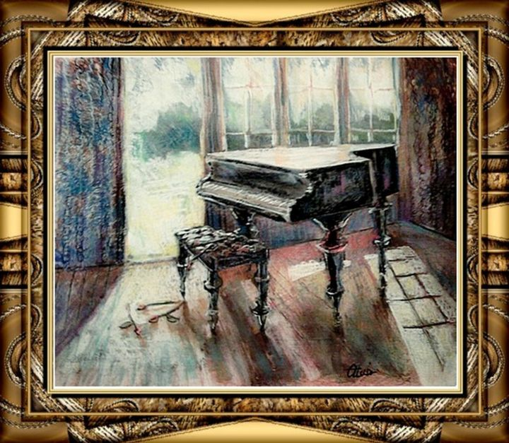 """Painting titled """"Piano and roses"""" by Alex Ottmár, Original Art, Pastel"""