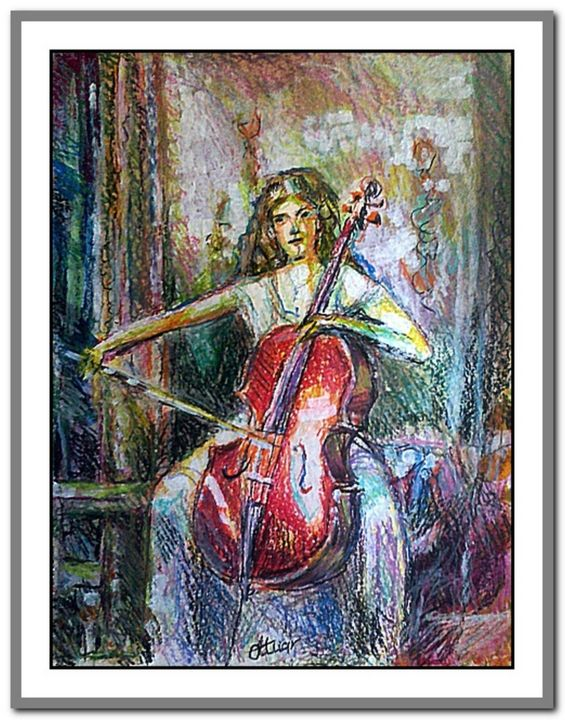 """Painting titled """"The power of music"""" by Alex Ottmár, Original Art, Pastel"""