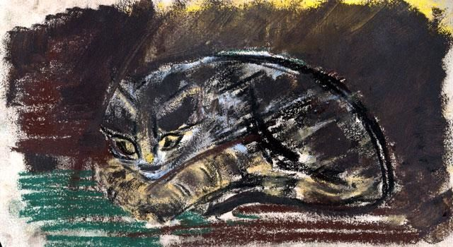 LeChat.jpg - Drawing ©1950 by Alex Pogo -