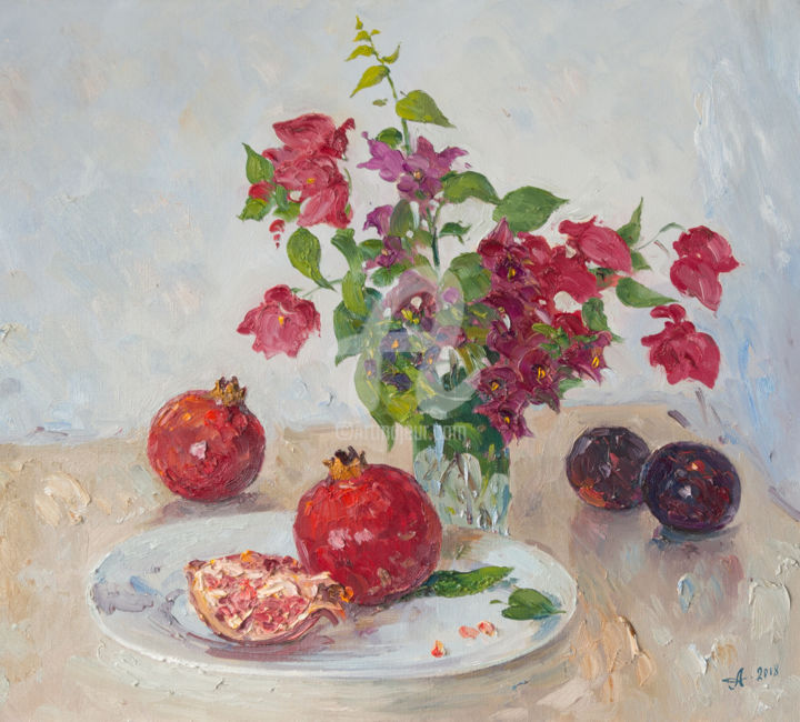 Cyprus still life with pomegranates - Painting,  17.7x19.7 in, ©2018 by Alexander ALEXANDROVSKY -                                                                                                                                                                                                                                                                                                                                                                                                                                                                                                                                                                                                                                                                                                                                                                                                                                                                                                                                                                                                                                                  Figurative, figurative-594, Still life, Alexandrovsky, berries, drapery, fabric, flowers, fruit, game, glass, jar, painting, pitcher, plate, pomegranates, staging, still life, summer, table, tablecloth, Cyprus