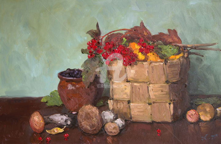 Mushrooms and viburnum. Autumn - Painting,  15.8x23.6 in, ©2015 by Alexander ALEXANDROVSKY -                                                                                                                                                                                                                                                                                                                                                                                                                                                                                                                                                                                                                                                                                                                                                                                                                                                                                                                                                          Figurative, figurative-594, Still life, Alexandrovsky,  Realism,  Still life,  pitcher,  jar,  glass,  fruit,  berries,  game,  flowers,  plate,  table,  tablecloth,  fabric,  drapery,  staging,  still life