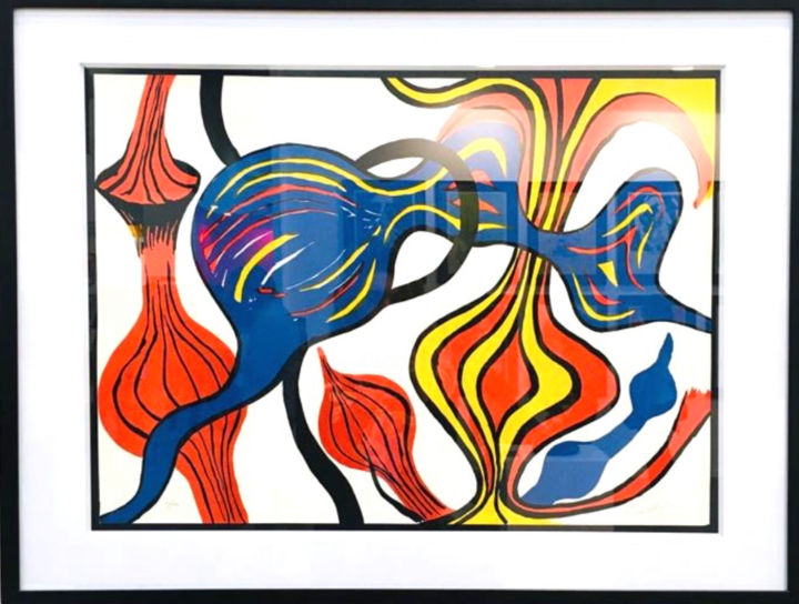 """Printmaking titled """"Oignons"""" by Alexander Calder, Original Art, Lithography Mounted on Cardboard"""